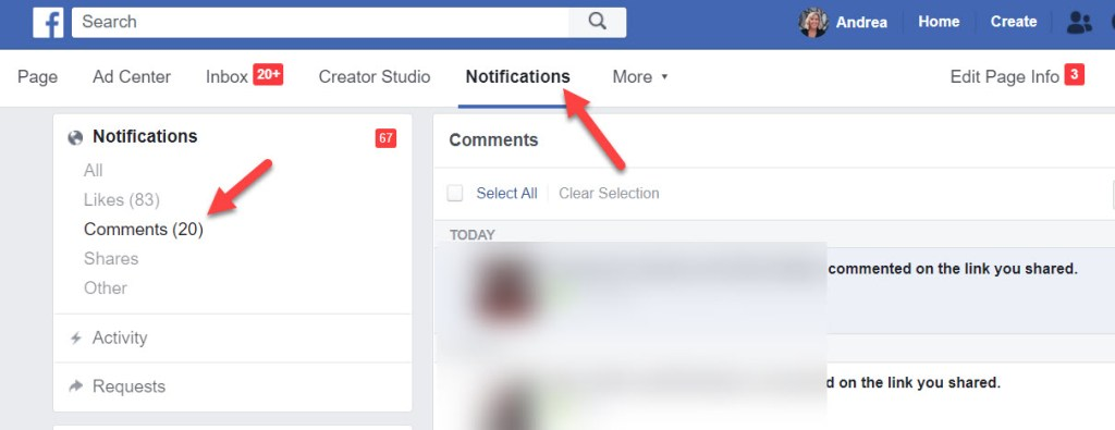 Monitoring comments on Facebook Ads