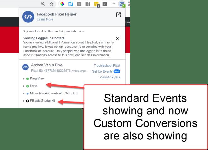 Facebook Pixel standard event and custom conversions