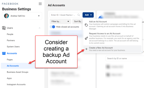 Creating a backup Facebook Ads Manager