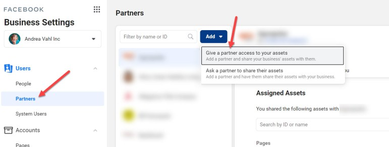 Give a Partner access to your assets on Facebook