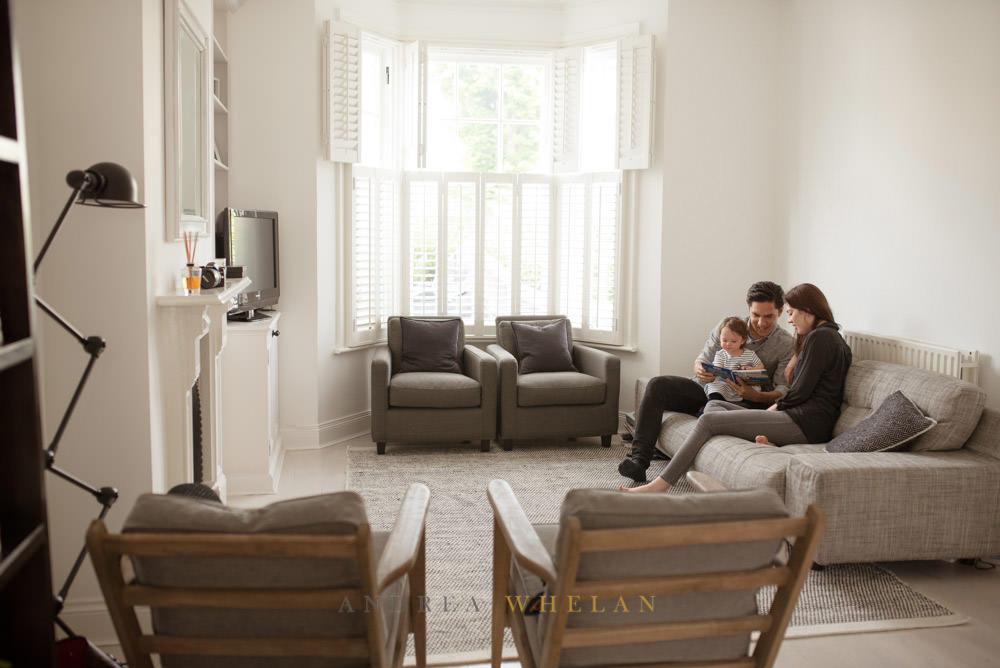 Mid-century living room family portrait
