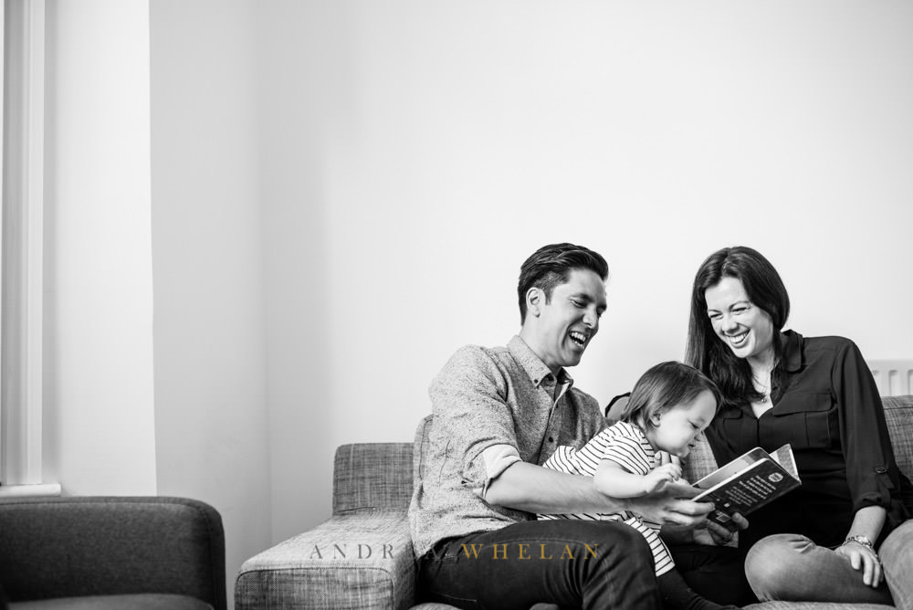 Family story time black and white