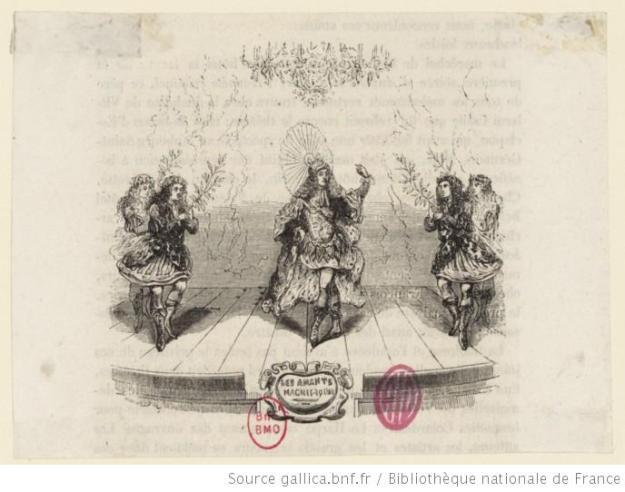 Image of a dancers in Les Amants magnifiques, 1670. Bibliothèque nationale de France, département Bibliothèque-musée de l'opéra, ESTAMPESSCENESAmantsmagnifiques(1)