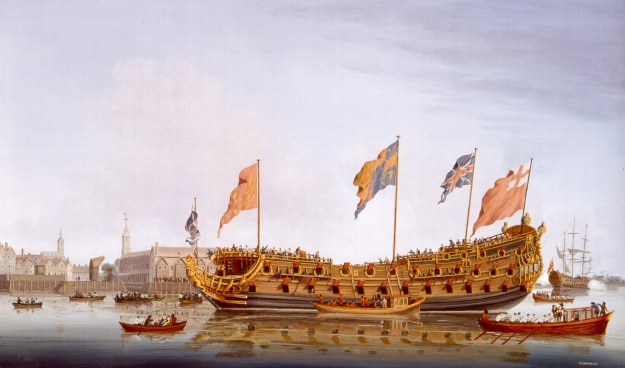 King Charles visiting Deptford Dockyard with Louise for the launch of Lenox named after their son, Charles Lenox, 1678. Image: Richard Ensor