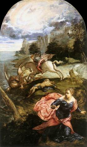 TINTORETTO St George and the Dragon 1555-58 Oil on canvas, 158 x 100 cm National Gallery, London, via Web Gallery of Art