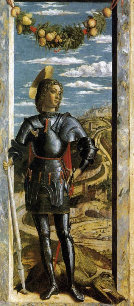 MANTEGNA, Andrea St George c. 1460 Tempera on panel, 66 x 32 cm Gallerie dell'Accademia, Venice. Web gallery of art.