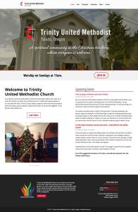 This is a fullpage screenshot of the Home page on the Trinity United Methodist website designed by André Casey