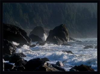 """""""Негостеприимный берег"""". Негостеприимный берег предстает перед взором случайно свернувших с шоссе номер 1. Бешеные волны, острые как иглы скалы, и холод, пробирающий до костей. Вот такая она, северная Калифорния."""