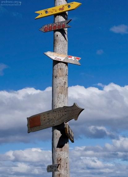Столб с указателями к различным городам мира. Вторые сверху матрешки - направление на Москву.