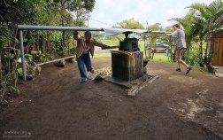 """Илья и хозяин плантации """"Sugarcane Florida"""" выдавливают сок из сахарного тростника с помощью пресса."""