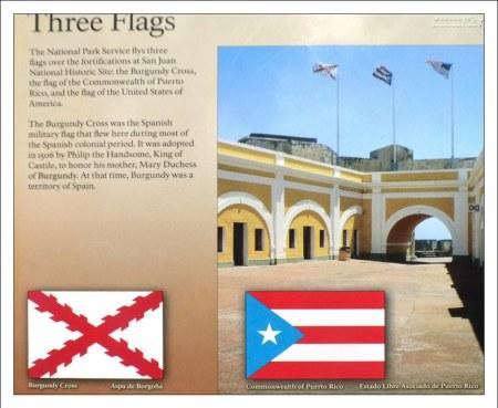 Сегодня над фортом El Morro развеваются флаги Пуэрто-Рико, США и Бургундский крест, которым раньше пользовались испанцы.