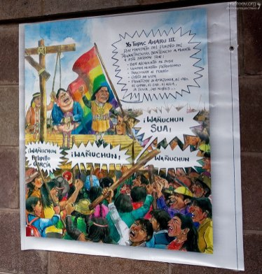 Карикатура, где вешают президента Перу.