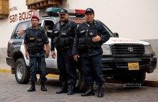 Эти бравые парни с удовольствием фотографировались на фоне новой полицейской Тойоты.