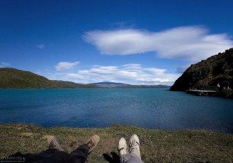 Ждем паром через озеро Pehoe.