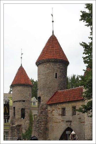 Часть крепостной стены с башнями.