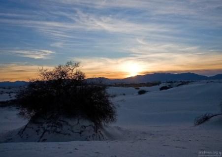 Закат над горами San Andres Mountains.