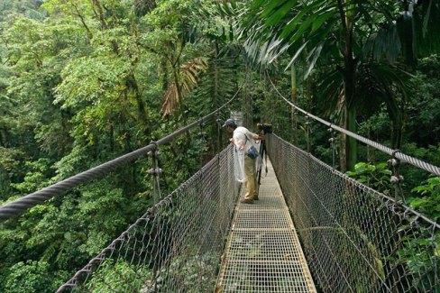 Один из шести подвестных мостов в джунглях, на высоте около 30 метров.