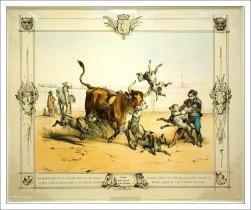 Бой быка со сворой собак. Рисунок 19-го века в музее корриды.