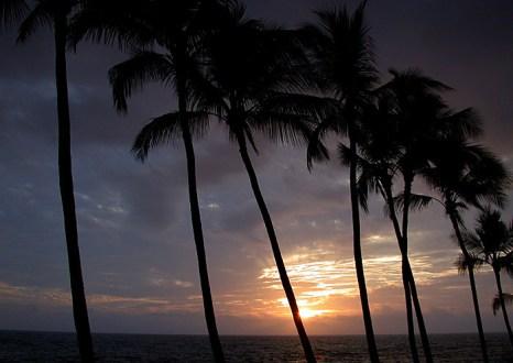 Первый закат на Гавайских Островах. Большой Остров.