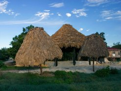 Крыши из пальмовых листьев в одной из деревень на Северном шоссе.
