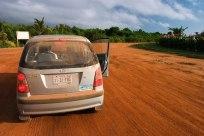 Оранжевая земляная дорога на полуострове Плаценсия.