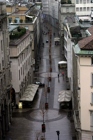 Миланская улочка под дождем.