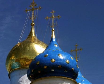 Сверкающие купола Успенского собора. Троице-Сергиева Лавра.