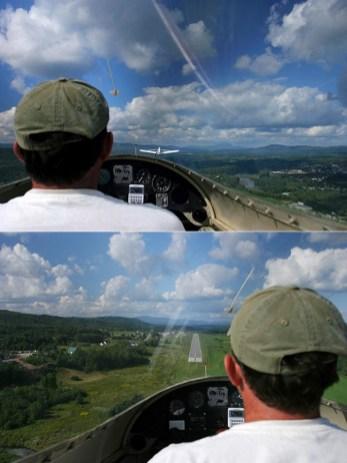 1. Впереди летит самолет, тянущий наш планер за трос на взлете. 2. Самостоятельная посадка планера, без шасси.