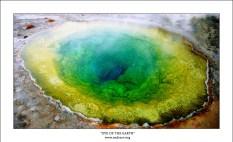"""""""Глаз Земли"""" Один из самых удивительных горячих источников в парке Йеллоустоун - """"Morning Glory"""". Раньше родник был почти полностью голубого цвета с желтой окантовкой. Но из-за загрязнений (в том числе, из-за окисляющихся монет, бросаемых туристами) цвет источника постепенно меняется в сторону зеленого, а желтые края все больше заползают внутрь. Источник горячий, поэтому виден пар, особенно в холодное время года."""