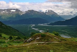 Долина у основания ледника Exit Glacier.