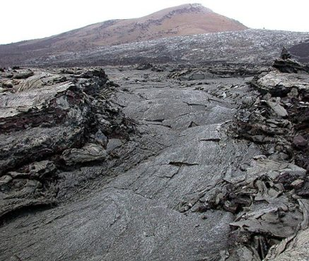 Застывшая лавовая река. На заднем плане расположена Pu'u 'O'o Vent, откуда до сих пор идет извержение в противоположную сторону.