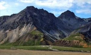 Зеленое подножие гор, входящих в систему Alaska range.