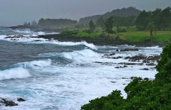 Неспокойный океан у границы парка Wai'anapanapa.