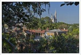 """Замок Золушки, видимый с высоты дерева из фильма """"Swiss Family Robinson""""."""