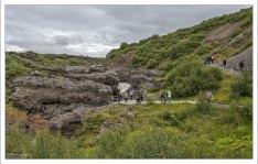 Обзорная площадка возле водопада Barnafossar.