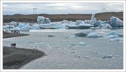 Айсберговая пробка перед выходом из лагуны.