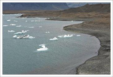 Чем дальше от побережья, тем айсберги мельче.
