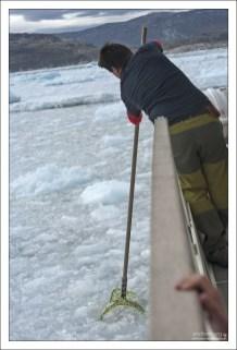 Помощник капитана достает лед для коктейлей.