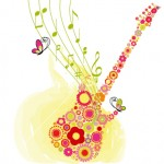 Springtime flower guitar music festival background