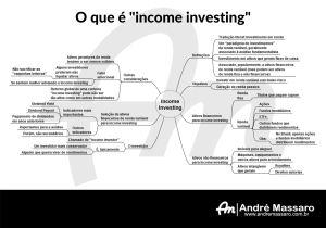 Diagrama em formato de mapa mental, mostrando as principais características do income investing