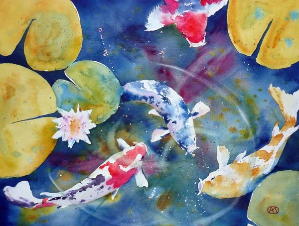 Andr Mhu Aquarelle  Aquarelle Carpes Ko et fleur de nnuphar 40x50 Fabriano acrylico