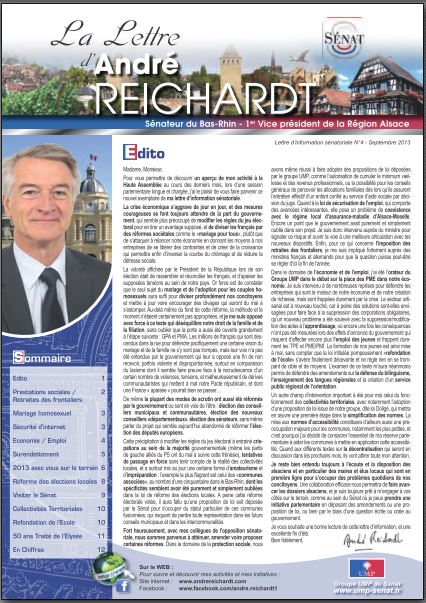 Newsletter André REICHARDT N°4 septembre 2013