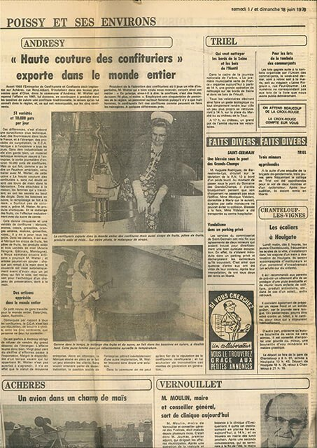 Coupure de journal dufabricant de confitures Andrésy Confitures