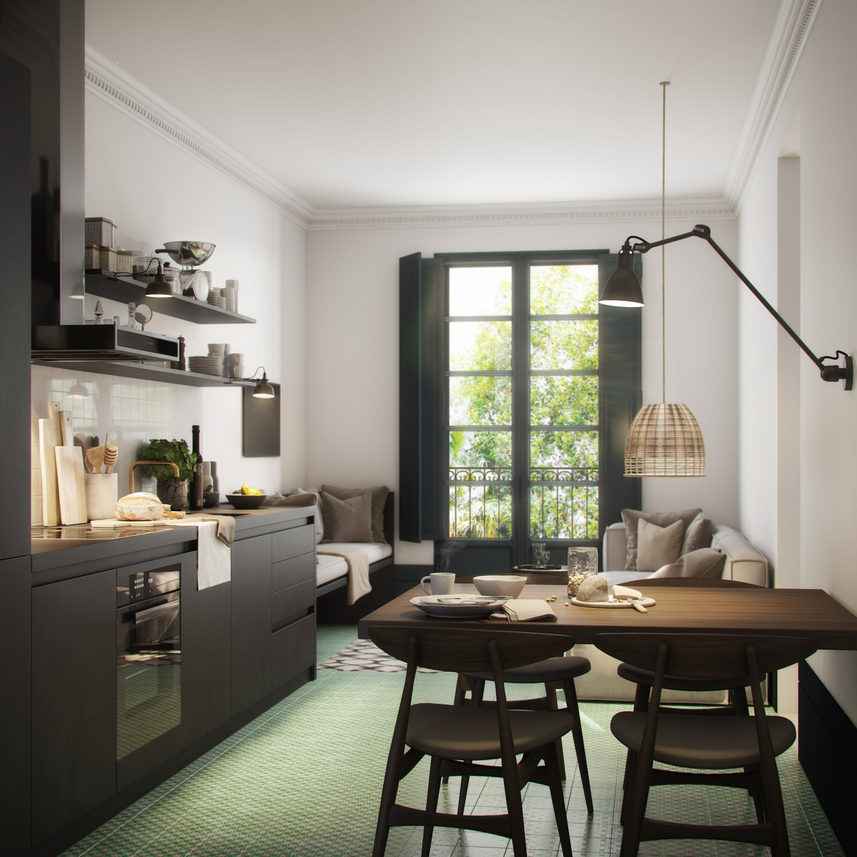 Render 3D de la sala de estar - cocina
