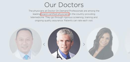Doctors on Demand의 경우는 'American board certified physician'만 고집하여