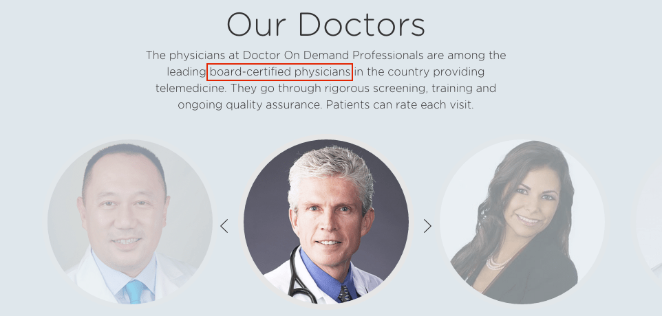 Doctors on Demand의 경우는 'American board certified physician'만 고집하여