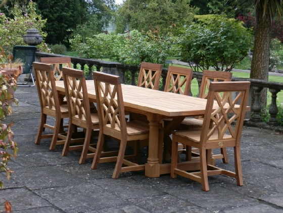 outdoor table and chairs wood raz shower chair uk garden furniture high quality oak or iroko african teak refectory hatfield style charles over