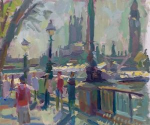 South Bank London, original oil painting by Andrew Farmer.
