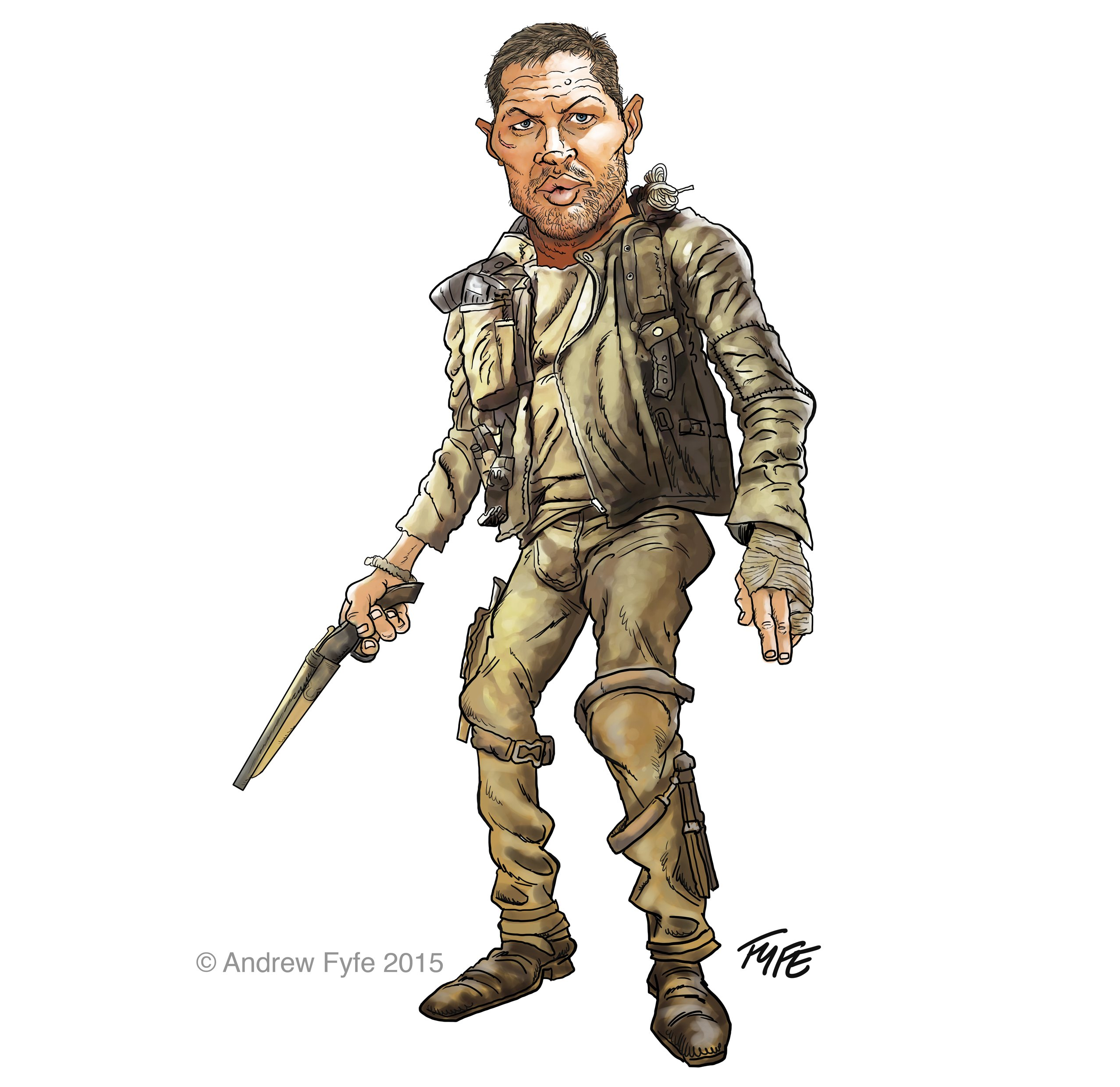 Mad Max, Tom Hardy, Mad Max caricature, Tom Hardy caricature, Andrew Fyfe, Mad Max Fury Road
