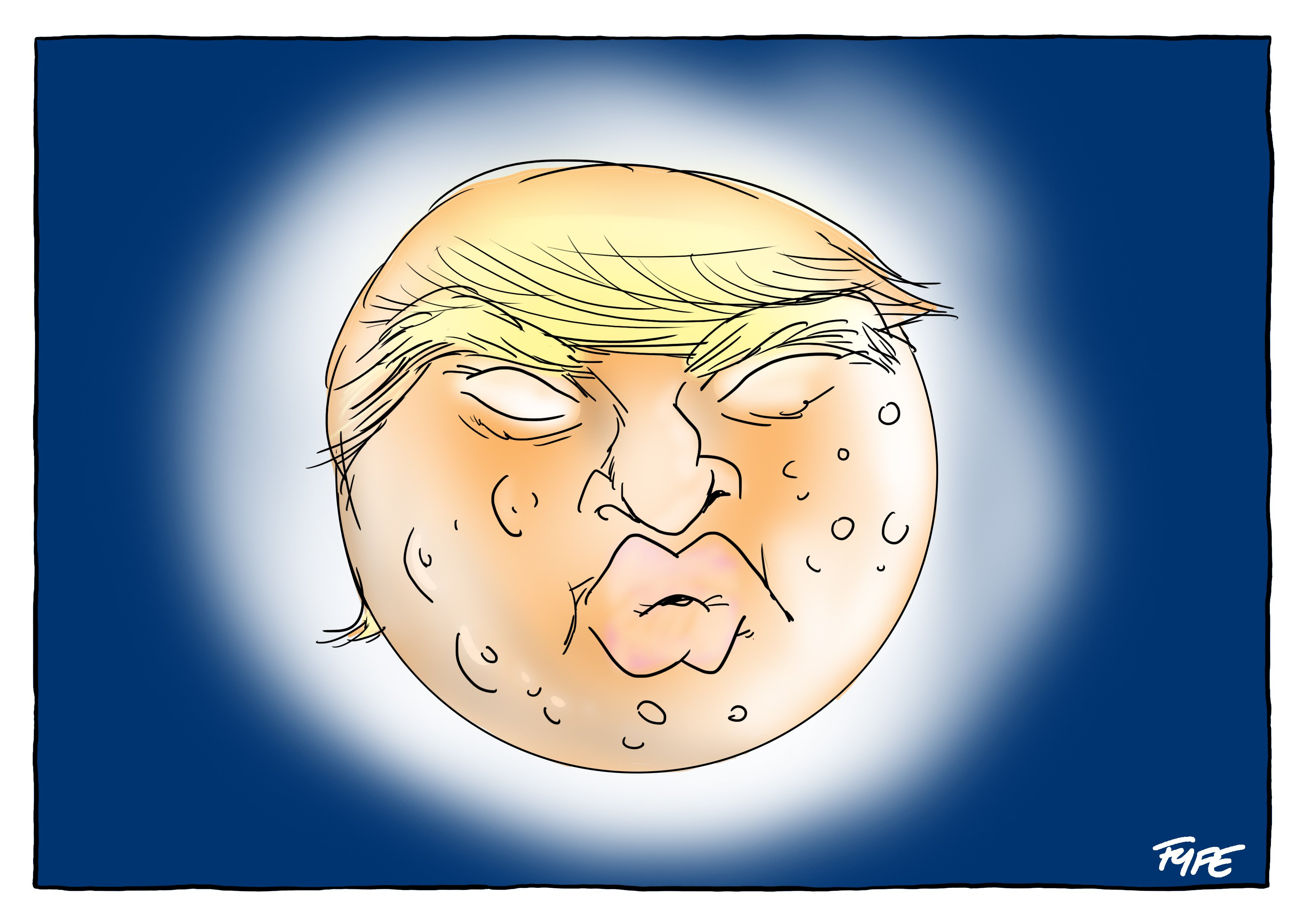 Supermoon, Trump, Donald Trump, Trump cartoon, Donald Trump cartoon